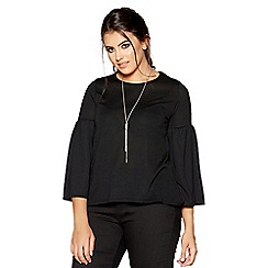 Quiz - Curve black light knit frill sleeves necklace top