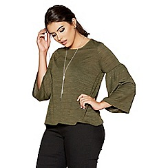 Quiz - Curve khaki light knit frill sleeves necklace top