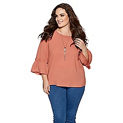Quiz - Curve terracotta frill sleeves necklace top