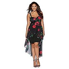Quiz - Curve black and red floral print dip hem dress