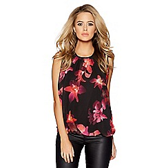 Quiz - Black and pink floral print bubble hem top