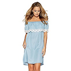 Quiz - Blue chambray lace trim bardot dress