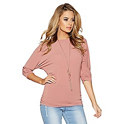Quiz - Terracotta light knit ruched 3/4 sleeved necklace top
