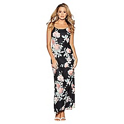 Quiz - Black and coral floral print split maxi dress