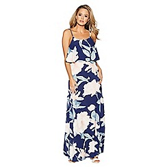 Quiz - Navy and nude print floral maxi dress