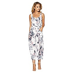Quiz - Cream floral print v-bar bardot jumpsuit