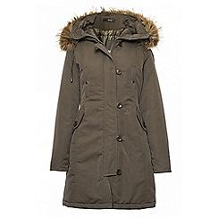 Quiz - Khaki canvas faux fur trim jacket