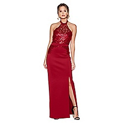 Quiz - Berry sequin high neck maxi dress