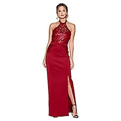 Quiz - Berry sequin high neck maxi dress