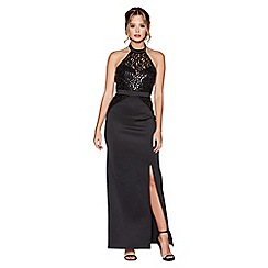 Quiz - Black sequin high neck maxi dress