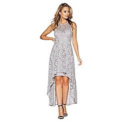 Quiz - Grey sequin lace dip hem dress