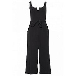 Quiz - Black Crepe Belted Culottes Jumpsuit
