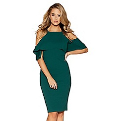 Quiz - Bottle green crepe cold shoulder dress