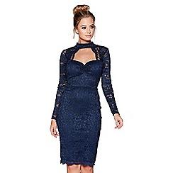 Quiz - Navy glitter lace choker dress