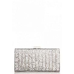 Quiz - Silver glitter caged box bag