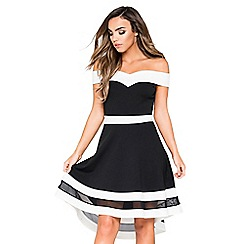 Quiz - Black and cream bardot mesh dip hem dress