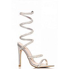 Quiz - Silver Diamante Spiral Heel Sandals
