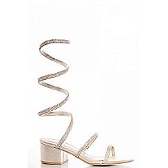 Quiz - Gold diamante spiral low block heel sandals