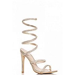 Quiz - Gold Diamante Spiral Heel Sandals