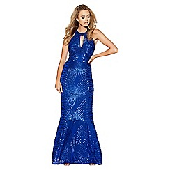 Quiz - Royal Blue Sequin and Mesh Fishtail Maxi Dress