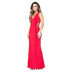 Quiz - Red v-neck lace up maxi dress
