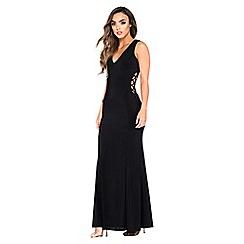 Quiz - Black v-neck lace up maxi dress