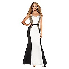Quiz - Cream and black embellished fishtail maxi dress