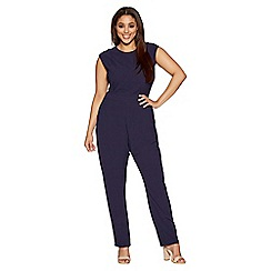 Quiz - Curve navy crepe lace back jumpsuit