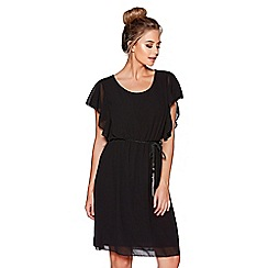 Quiz - Black chiffon frill sleeves belted tunic dress
