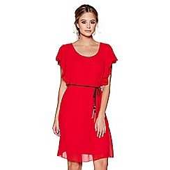 Quiz - Red chiffon frill sleeves belted tunic dress