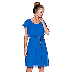 Quiz - Royal blue chiffon frill sleeves belted tunic dress