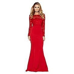 Quiz - Red lace detail fishtail maxi dress