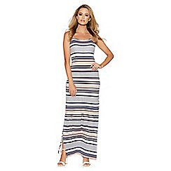 Quiz - Cream and coral contrast stripe maxi dress