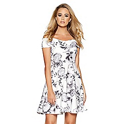 Quiz - Cream and Grey Floral Print Bardot Skater Dress
