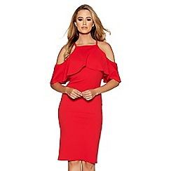 Quiz - Red crepe cold shoulder midi dress