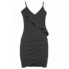 Quiz - Black frill ruched detail dress