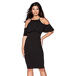 Quiz - Black crepe cold shoulder dress