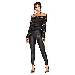 Quiz - Black pu coated high waist zip detail skinny jeans