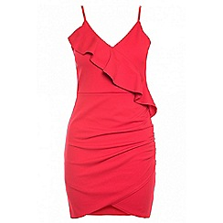 Quiz - Red frill ruched detail dress