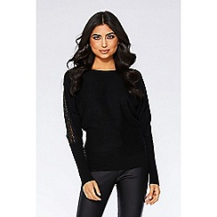 Quiz - Black light knit batwing lace insert jumper
