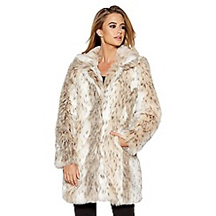 Quiz - Beige and grey leopard print faux fur jacket
