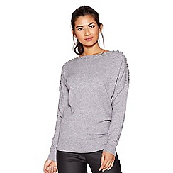Quiz - Grey light knit batwing pearl diamante sleeved jumper