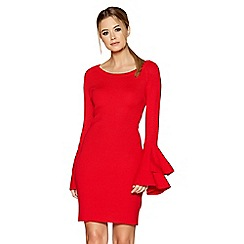 Quiz - Red light knit double frill sleeves mini dress