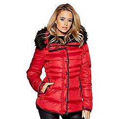 Quiz - Red and black padded faux fur collar jacket