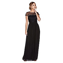 Quiz - Black chiffon cap sleeve embellished maxi dress