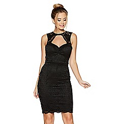 Quiz - Black glitter lace scallop dress