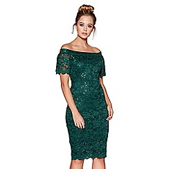 Quiz - Bottle green sequin lace bardot midi dress