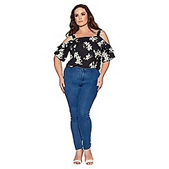 Quiz - Curve blue stretch high waist jeans