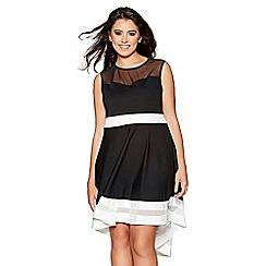 Quiz - Curve black and cream mesh dip hem dress