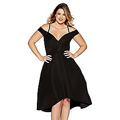 Quiz - Curve black stripe sweetheart neck dip hem dress